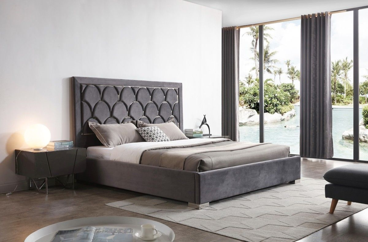 Modrest Audrey Modern Grey Velvet & Stainless Steel Bed ...
