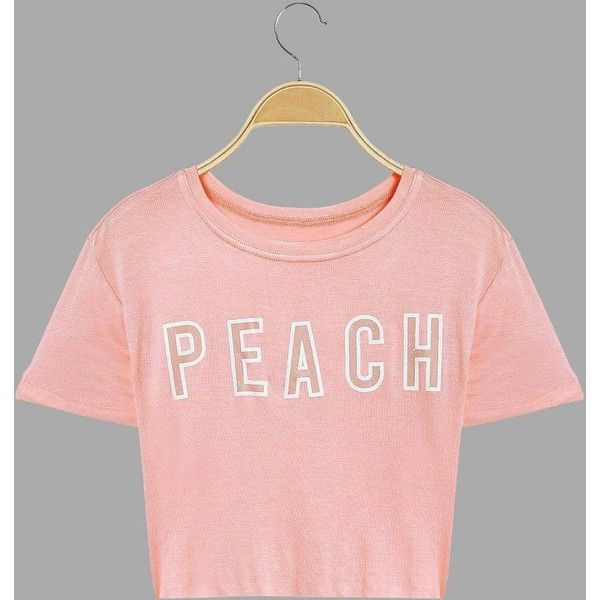 d5aeb95cb8281f Yoins Short Sleeves Peach Letter Pattern Crop T-shirt ( 17) ❤ liked on  Polyvore featuring tops