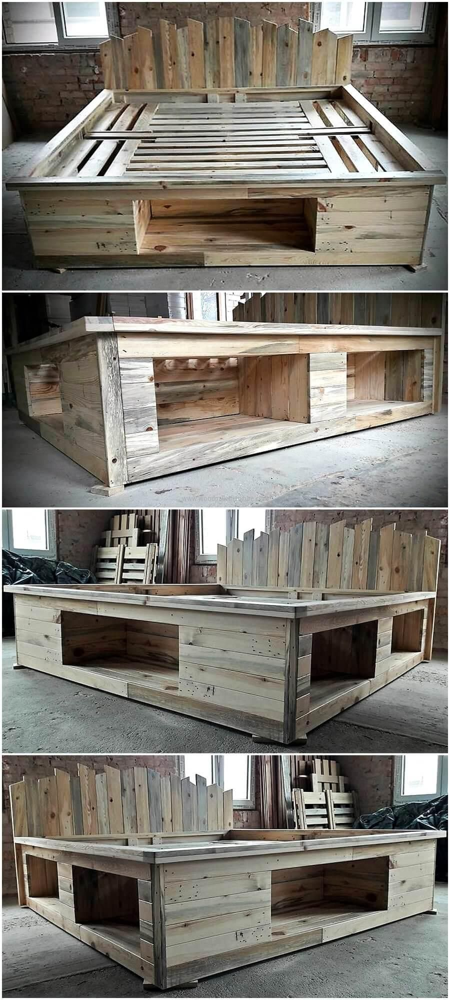 Single pallet bed frame - Repurposed Pallets Bed Frame With Storage Option