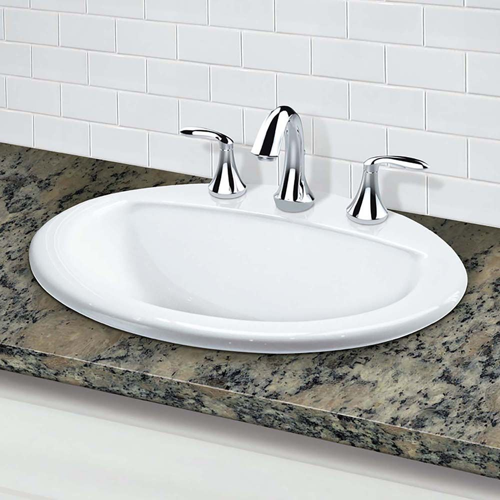 Decolav Drop In Bathroom Sink With Widespread Faucet Holes And White Fixture Lavatory Vitreous China