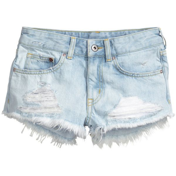 H&M Denim shorts ($12) ❤ liked on Polyvore featuring shorts, bottoms, pants, h&m, light denim blue, blue jean shorts, denim short shorts, jean shorts, blue short shorts and blue shorts