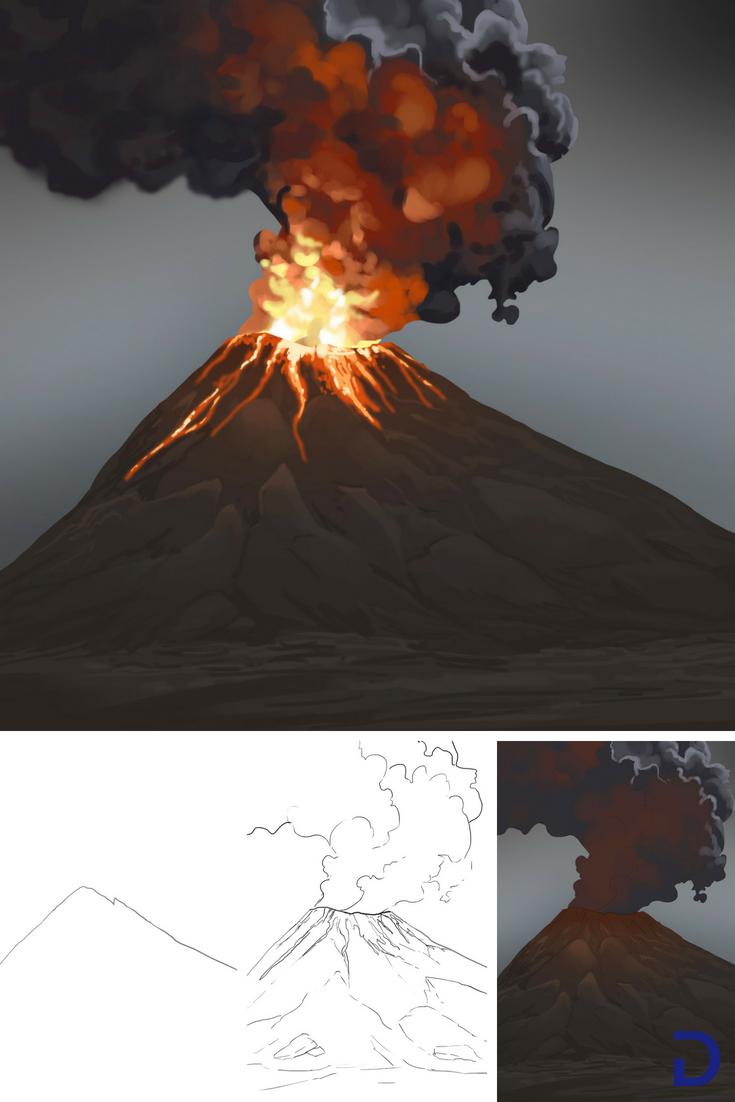Comment Dessiner Un Volcan Nature Et Autre Collage
