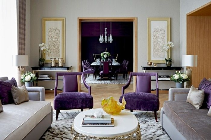 schöne wohnideen für das moderne wohnzimmer akzente in lila ... - Moderne Wohnzimmer Lila