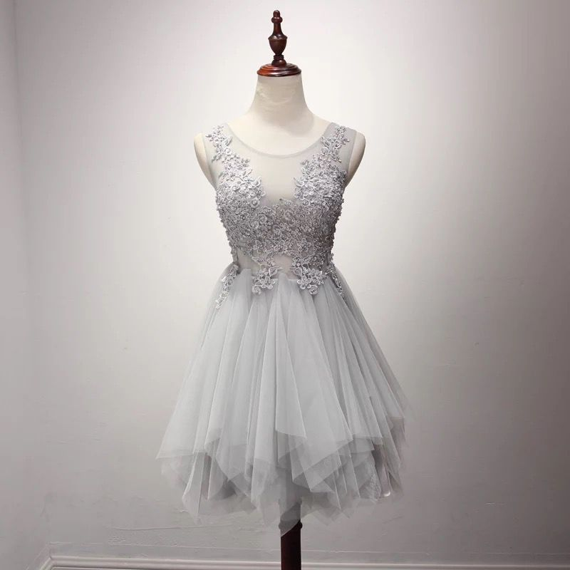 Princess Lace Appliqued Sexy Homecoming Dress,Silver Short Prom Dress,2236
