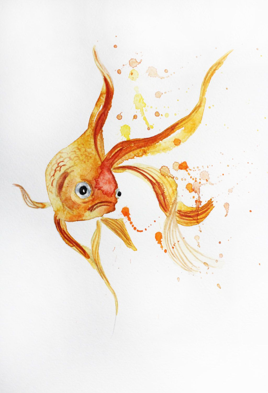 Original watercolor painting little koi fish gold fish for Original koi fish