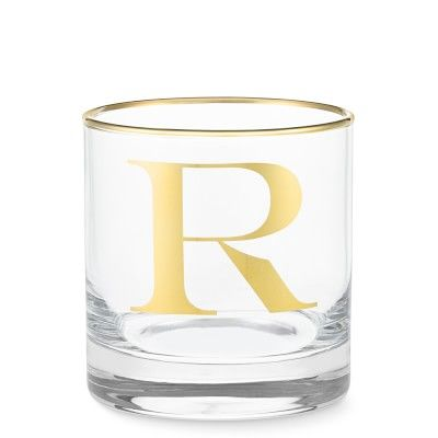 Williams Sonoma Gold Monogram Double Old-Fashioned Glass, R