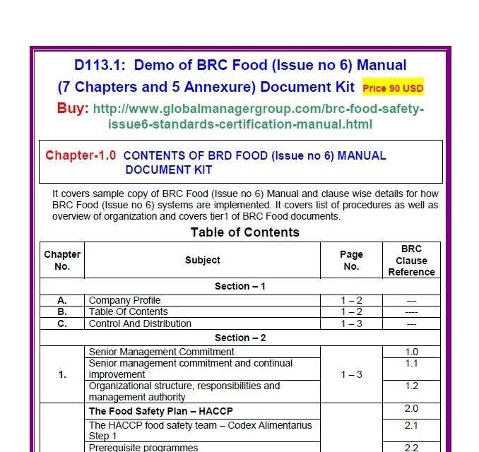 The BRC Food Manual Has Been Designed By GMG Base On BRC