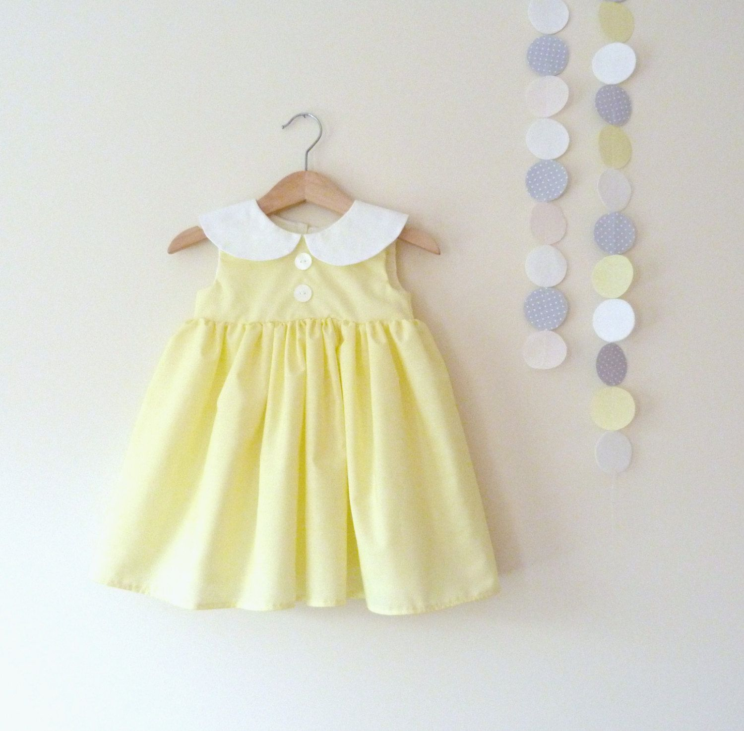 Girls Peter Pan Collar Dress In Lemon Yellow And by VesperClothier