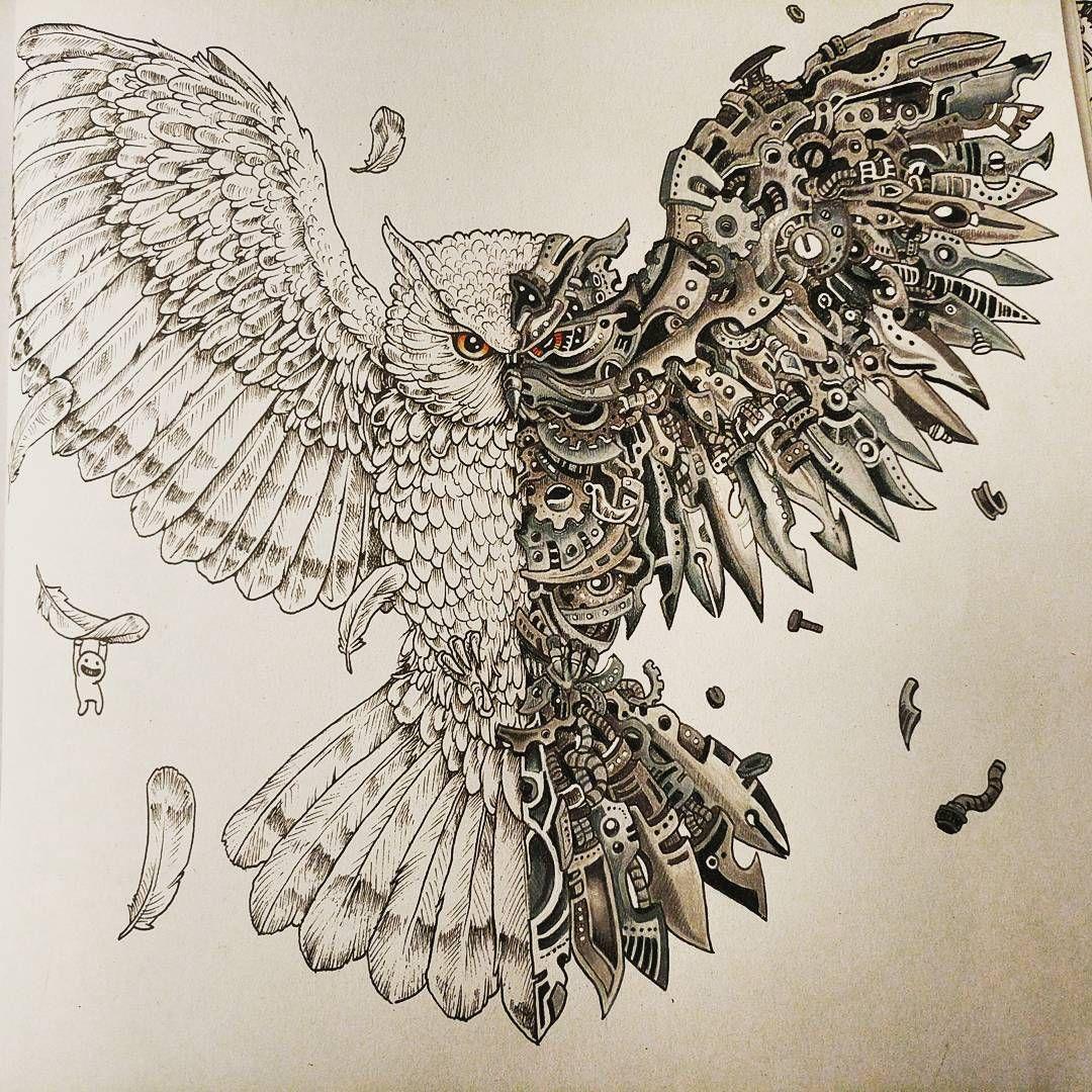 27 Likes 4 Comments Nim Nimmistry15 On Instagram Half Completed Imagimorphia Mechanical Owl Kerbyrosa Steampunk Tattoo Owl Tattoo Design Owl Tattoo