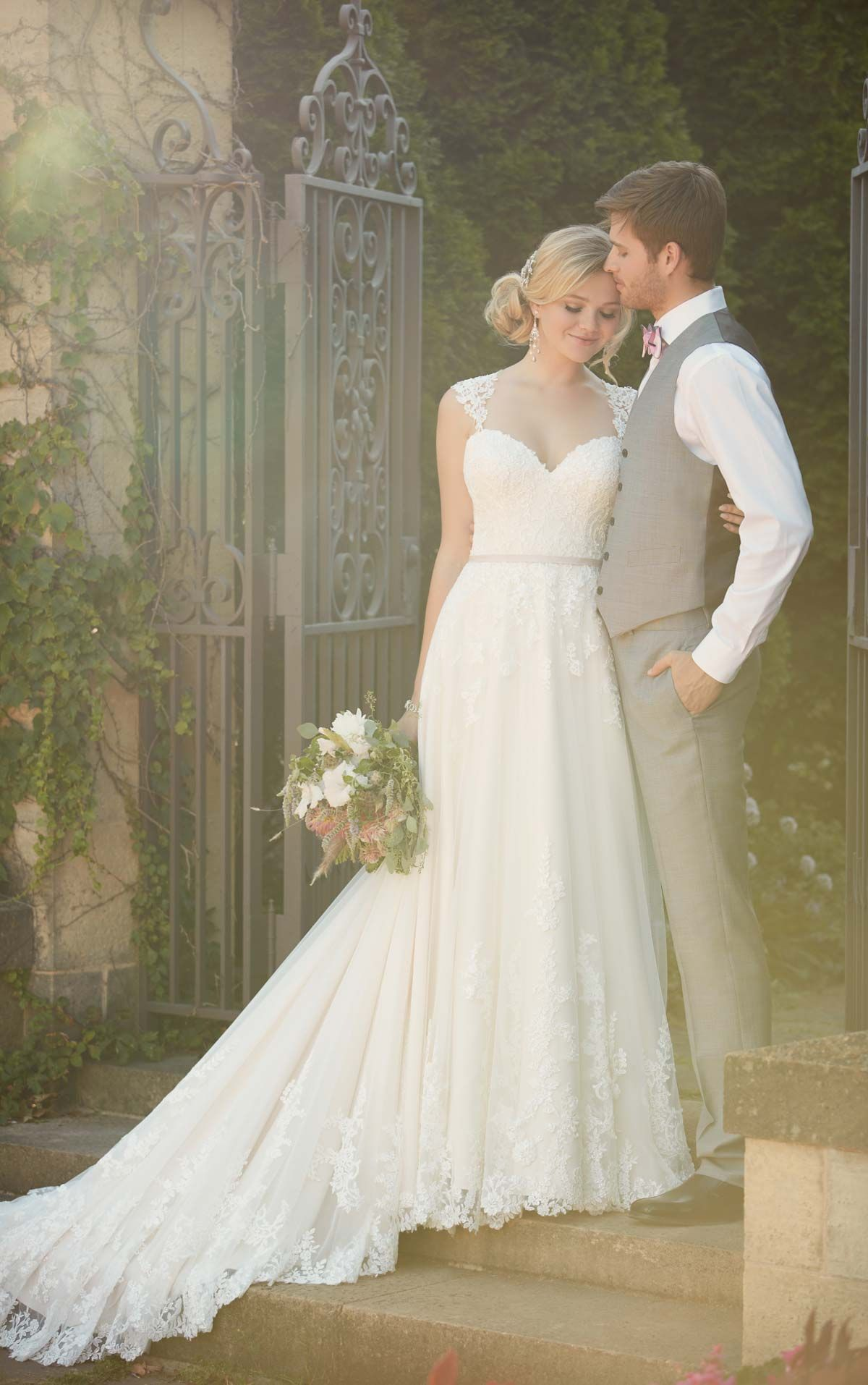 This lace over matteside Lustre satin Aline