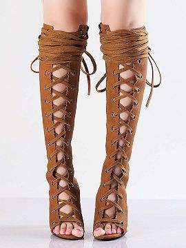 Shop Brown Lace-up Zip Knee High Heeled Sandals from choies.com .Free shipping Worldwide.$132.9