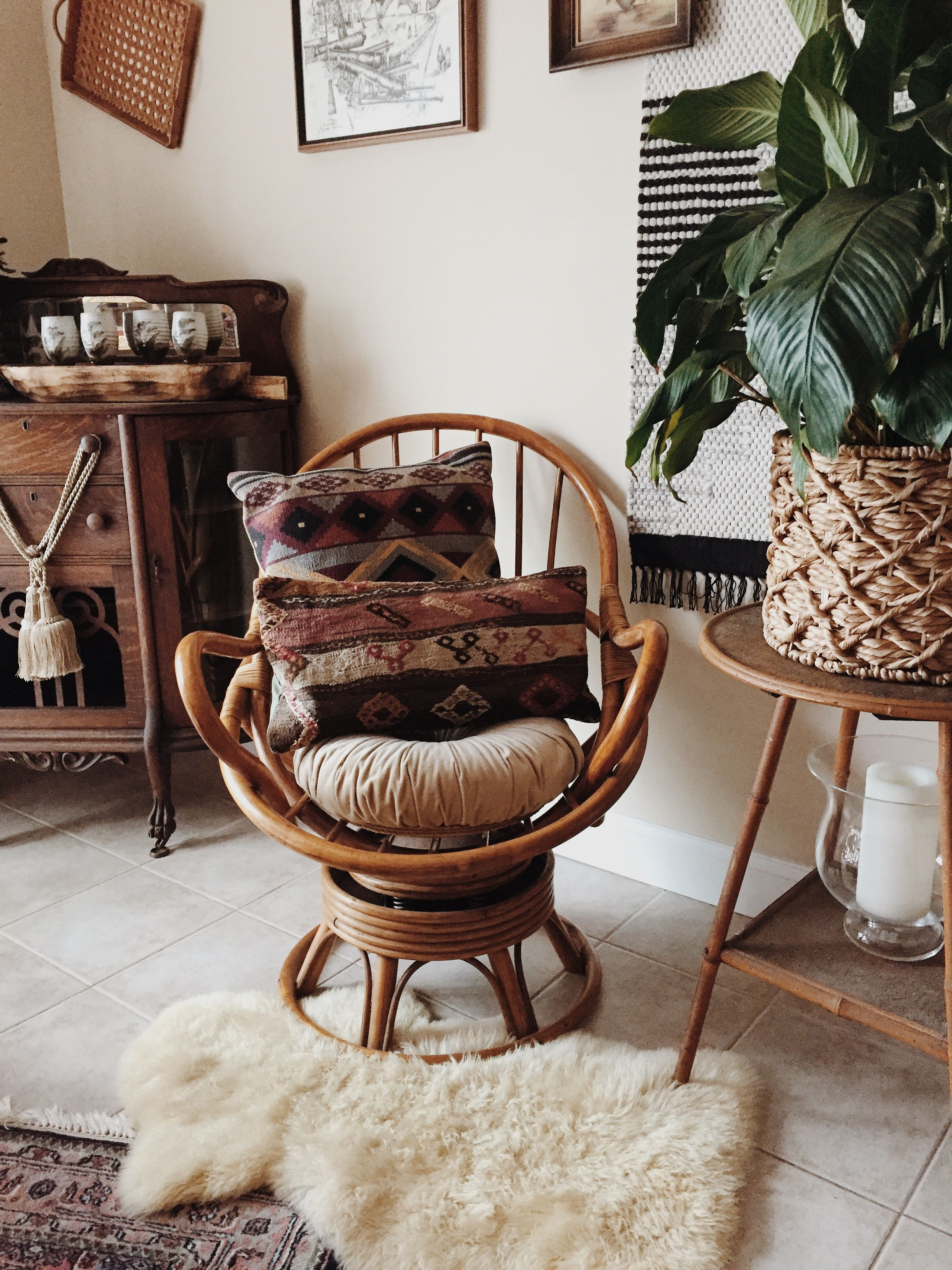 Mid Century Rattan Swivel Chair Cushions