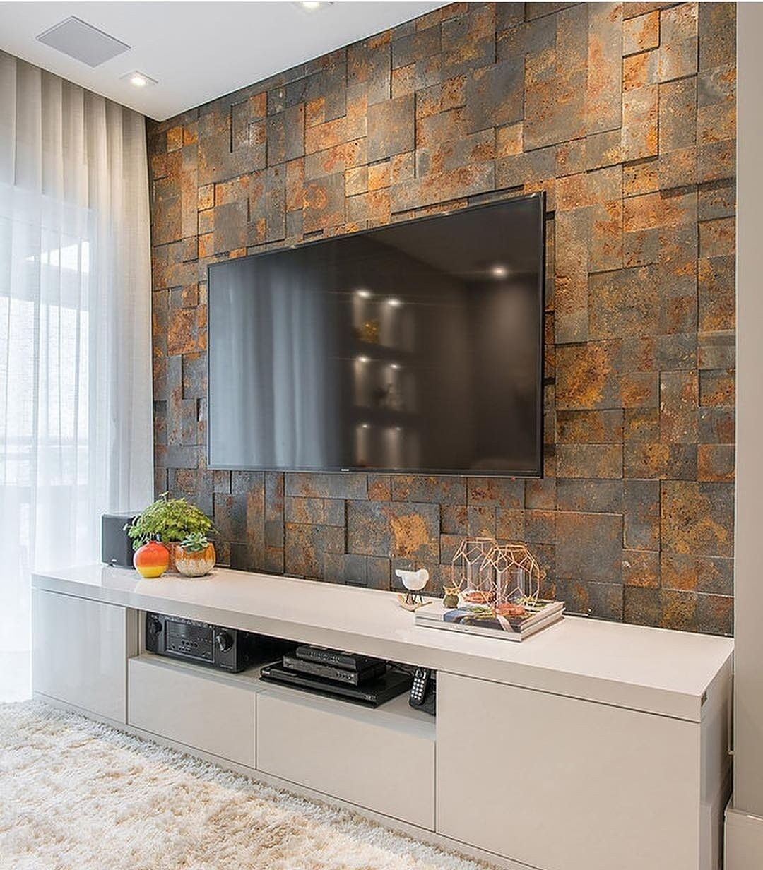 Wall Tiles For Tv Muebles Sala Apartamento Moderno
