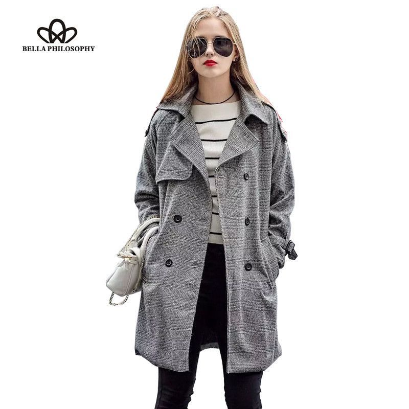Autumn/Winter women's windbreaker double breasted long slim Women plus size belted trench gray check plaids