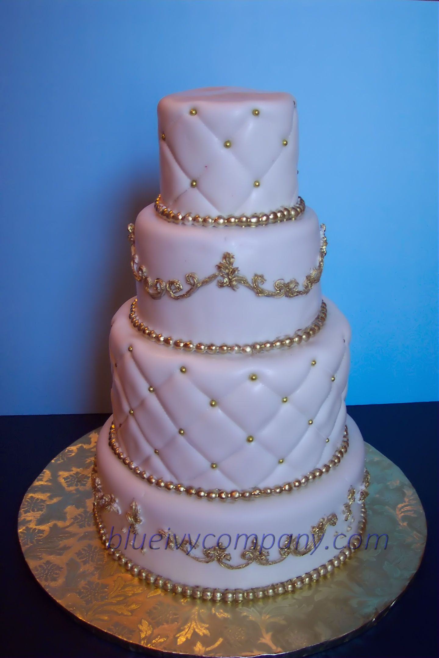 White u gold wedding cake wedding cake for a client covered with