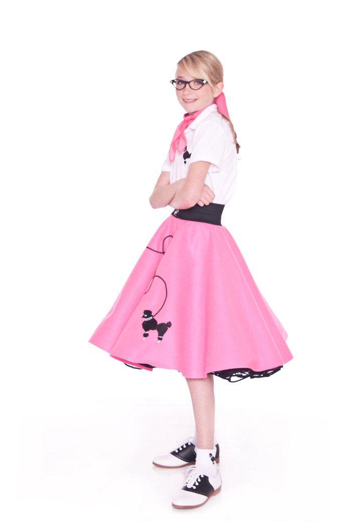 Girls 50\u0027s Poodle Skirt HOT PINK Large Child by hiphop50sshop - black skirt halloween costume ideas