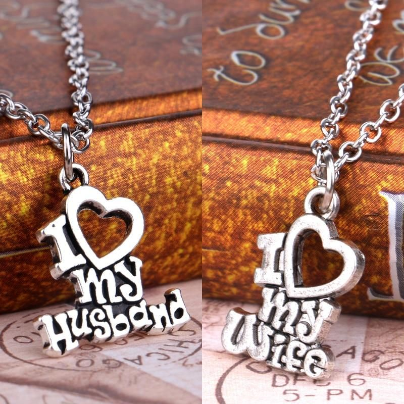 Valentines Gift I Love My Wife Husband Heart Letters Alphabet Pendant  Necklace For Women Men Jewelry Lover Couple Collier Gifts d807c9edce