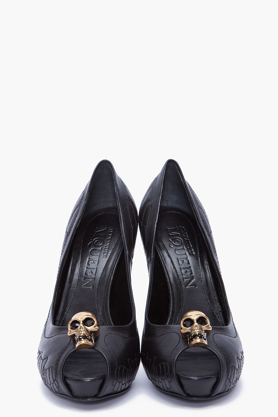 Alexander Mcqueen court designer dead skull skeleton black shoes heels stiletto x