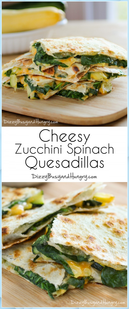 Cheesy Zucchini Spinach Quesadillas - Uncategorized #Cheesy #earth day #easter #fitness #gardening #...