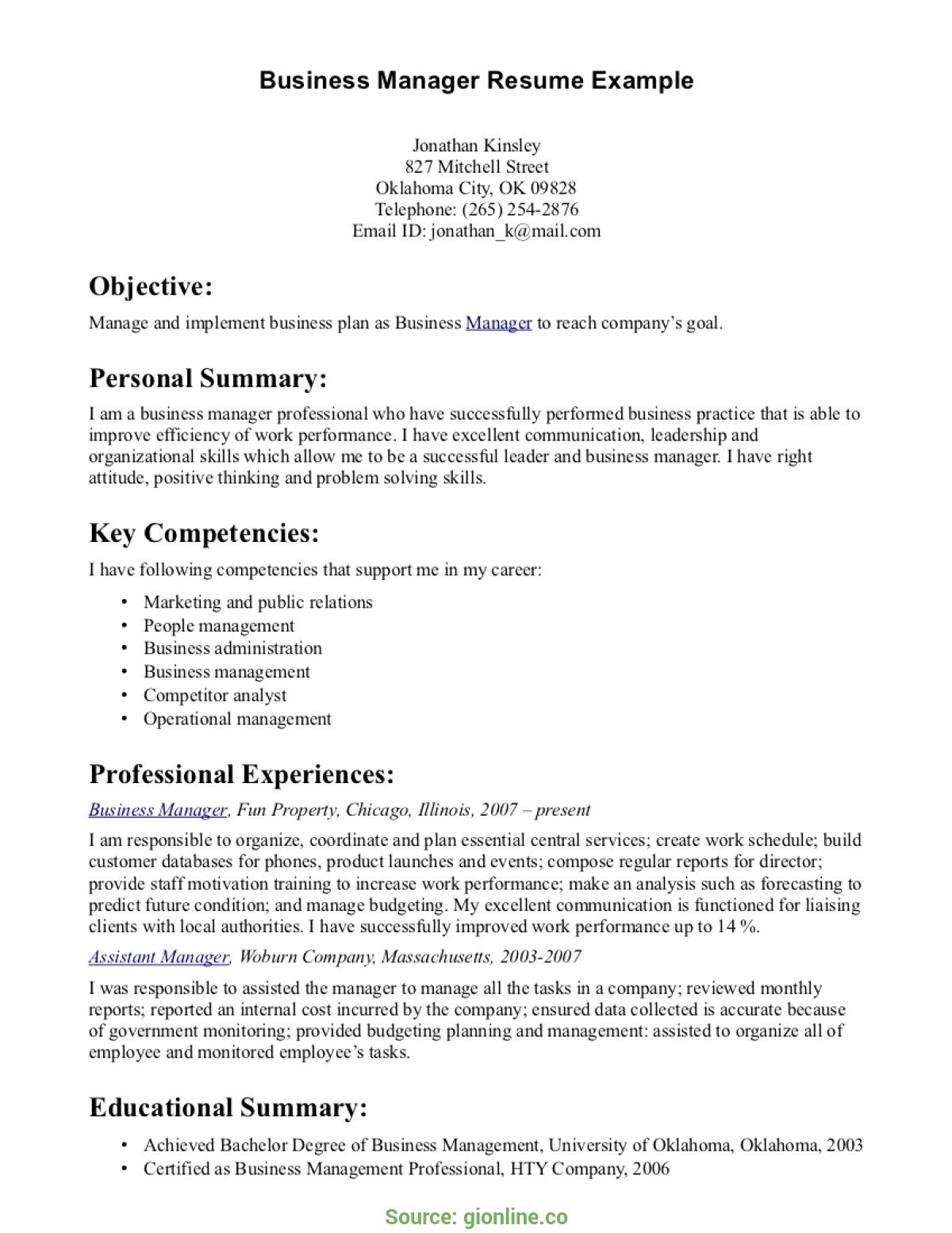 Resume Examples Business Management Business resume