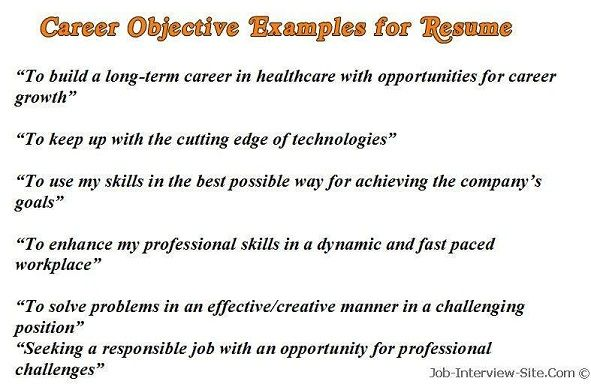 Sample Objective Examples Resume Career Objectives Resume Objective