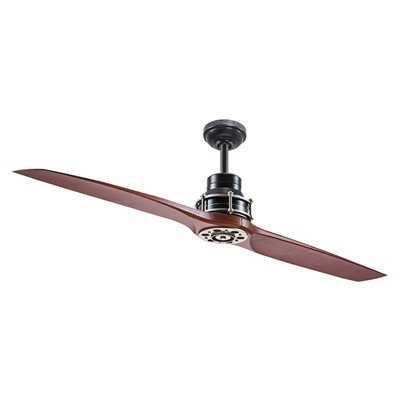 Kichler Lighting 56 In Satin Black With Antique Pewter Accents Downrod Mount 2 Blade Ceiling
