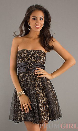 985c86fdfb24 Short Strapless Print Dress at PromGirl.com 89