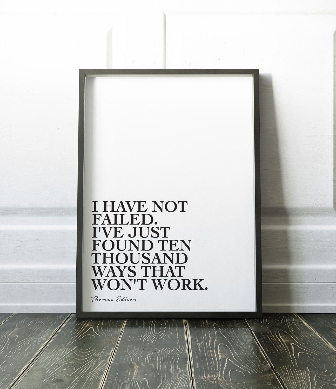 Poster design quotes - Thomas Edison Quote Printable Failure Inspirational Wall Art Decor Monochrome Minimalist Scandi Design Poster Home Failed Gift