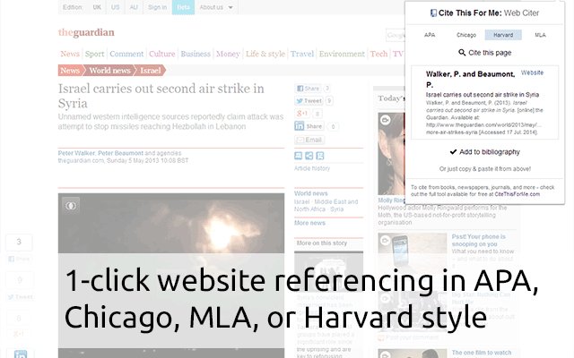 Automatically Create Website Citations In The Apa Mla Chicago Or Harvard Referencing Styles At The Click Of A Button Educational Technology Chrome Extensions College Checklist