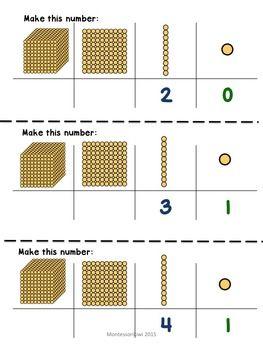Montessori Math Golden Beads Make Me Sample Freebie