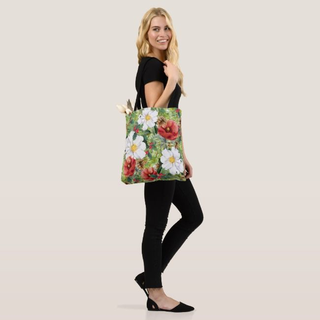 Chic Christmas Winter Floral Tote Bag
