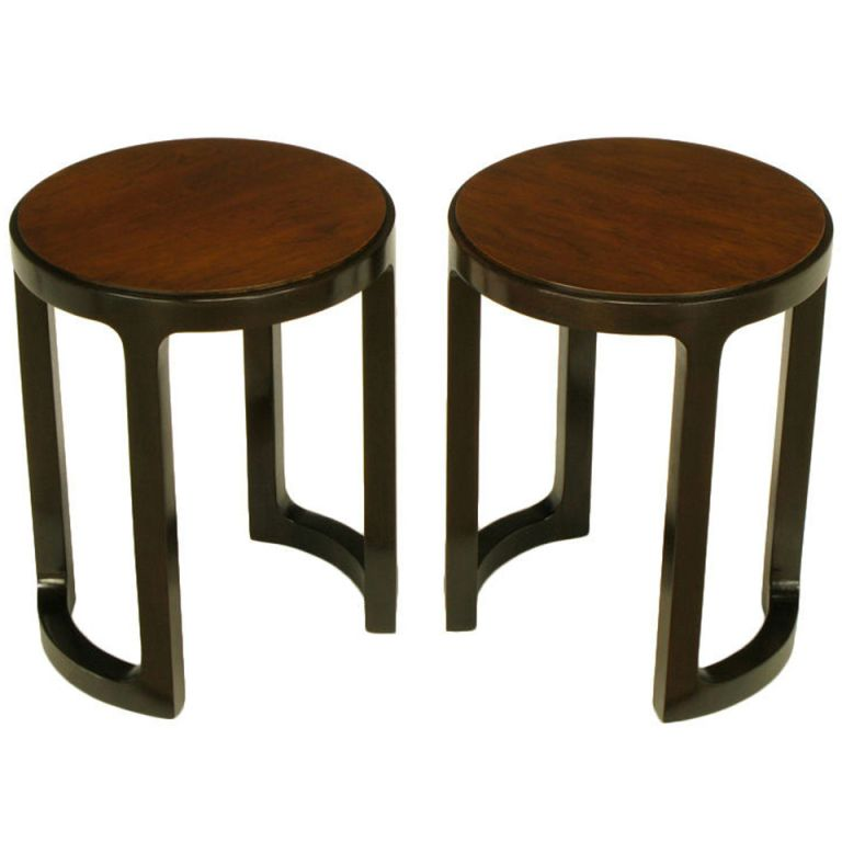 Rare Edward Wormley Round Rosewood Mahogany End Tables End