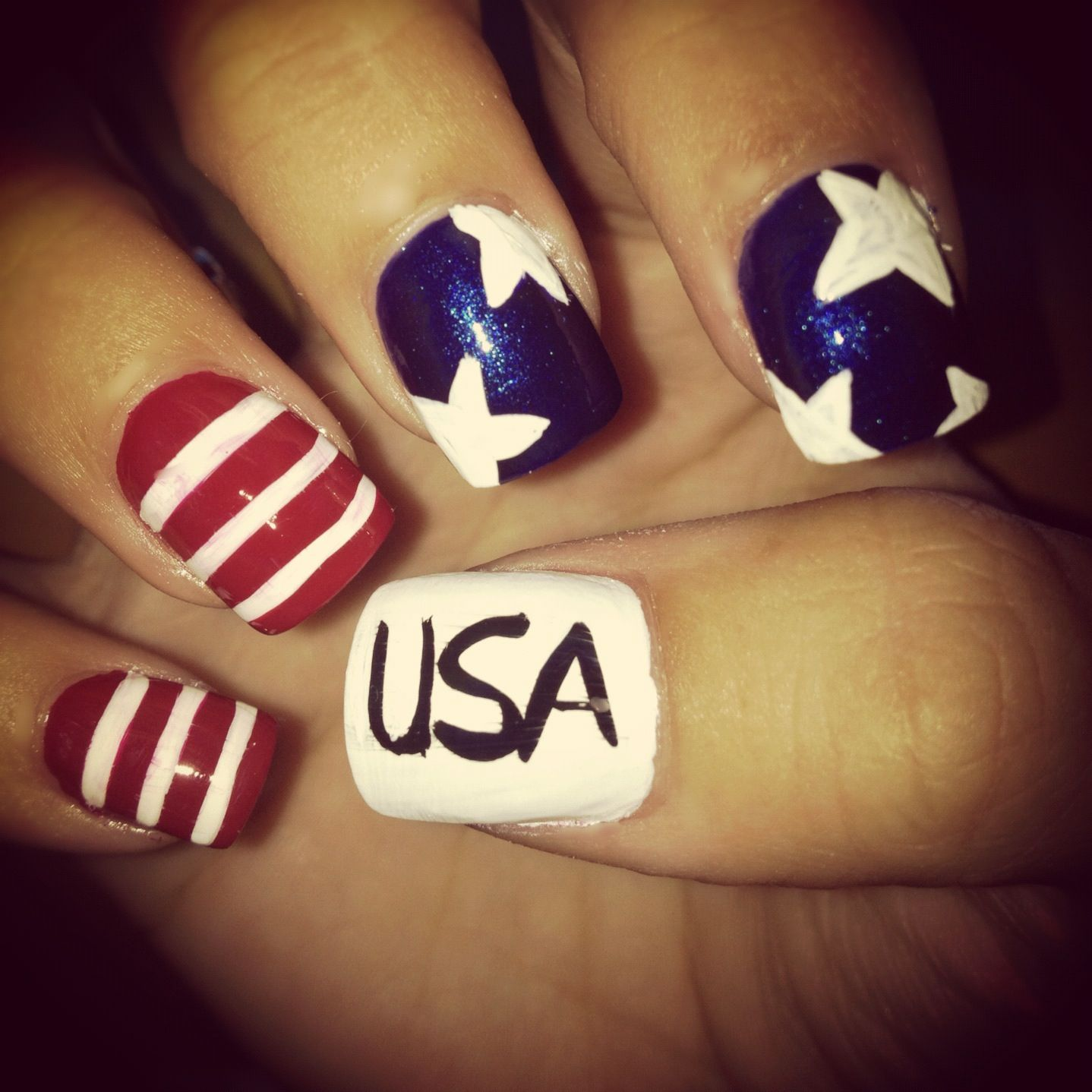 4th Of July Nails Americanflag Nails Stars Stripes Usa