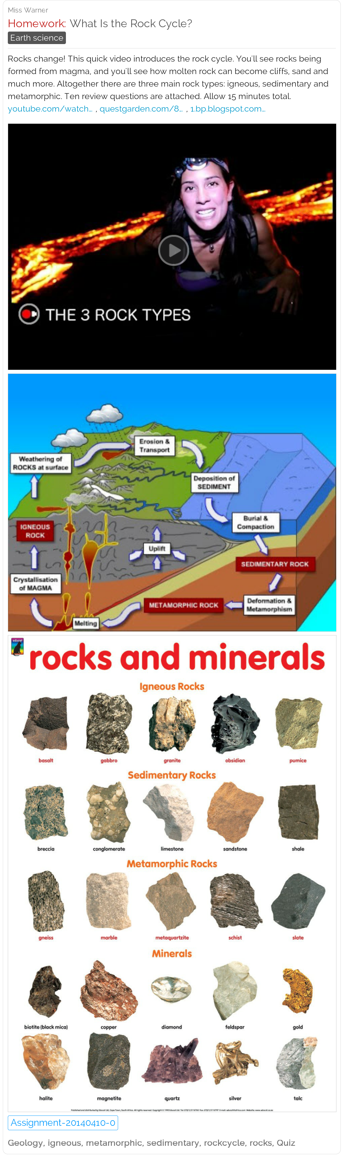 What Is The Rock Cycle Here Are Two Short Videos A Chart