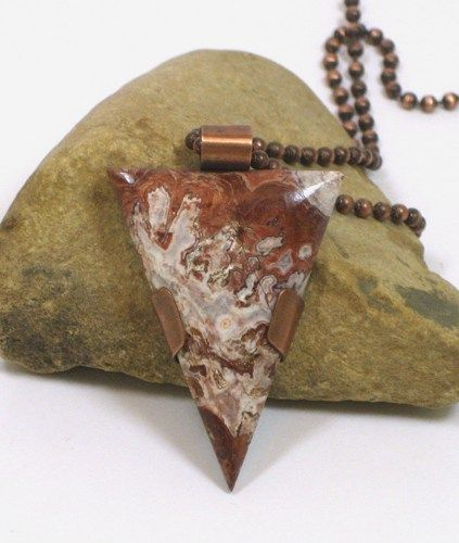 Unisex Triangular Crazy Lace Agate Copper Framed Cabochon Pendant   BDJDesigns - Jewelry on ArtFire