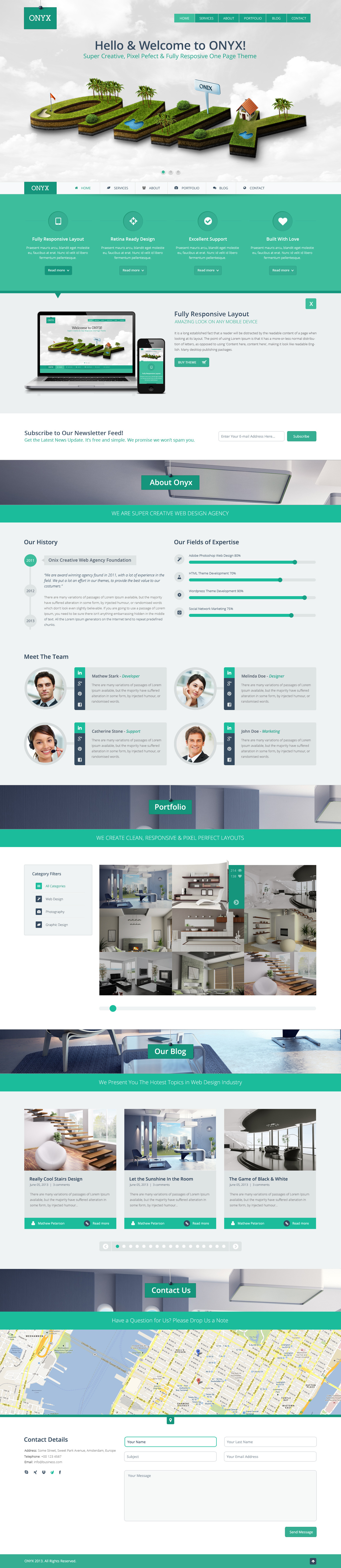 Onyx creative one page theme cognizant rebrand pinterest web