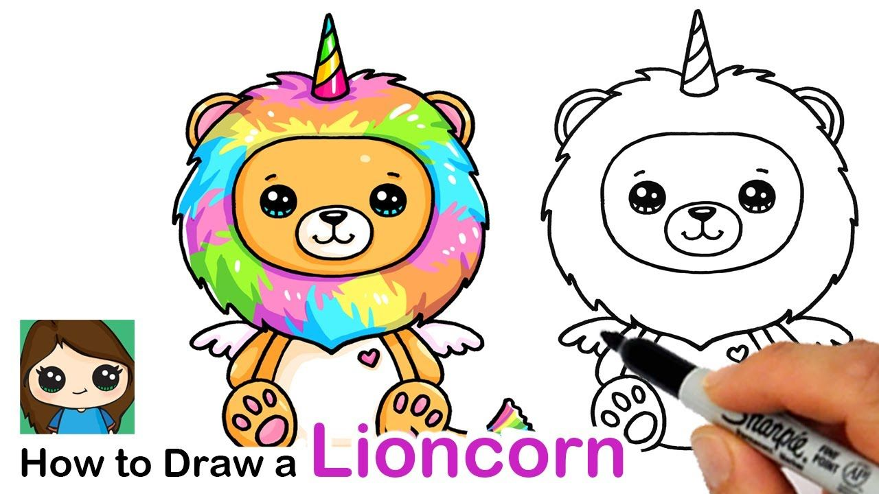 How To Draw A Lion Rainbow Unicorn Easy Lioncorn Youtube Cute Little Drawings Cute Drawings Lion Drawing Simple