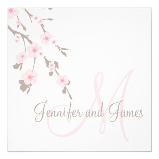 Cherry Blossom Wedding Invitation Monogram Back