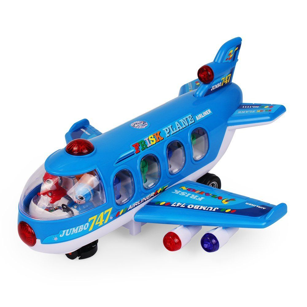 Enfants Avion Avion 3D Light Up Music Toy Bump /& Go Action