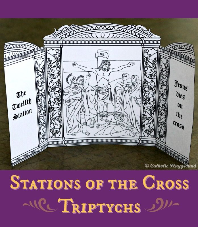 Print and color your own Stations of the Cross triptychs to help ...