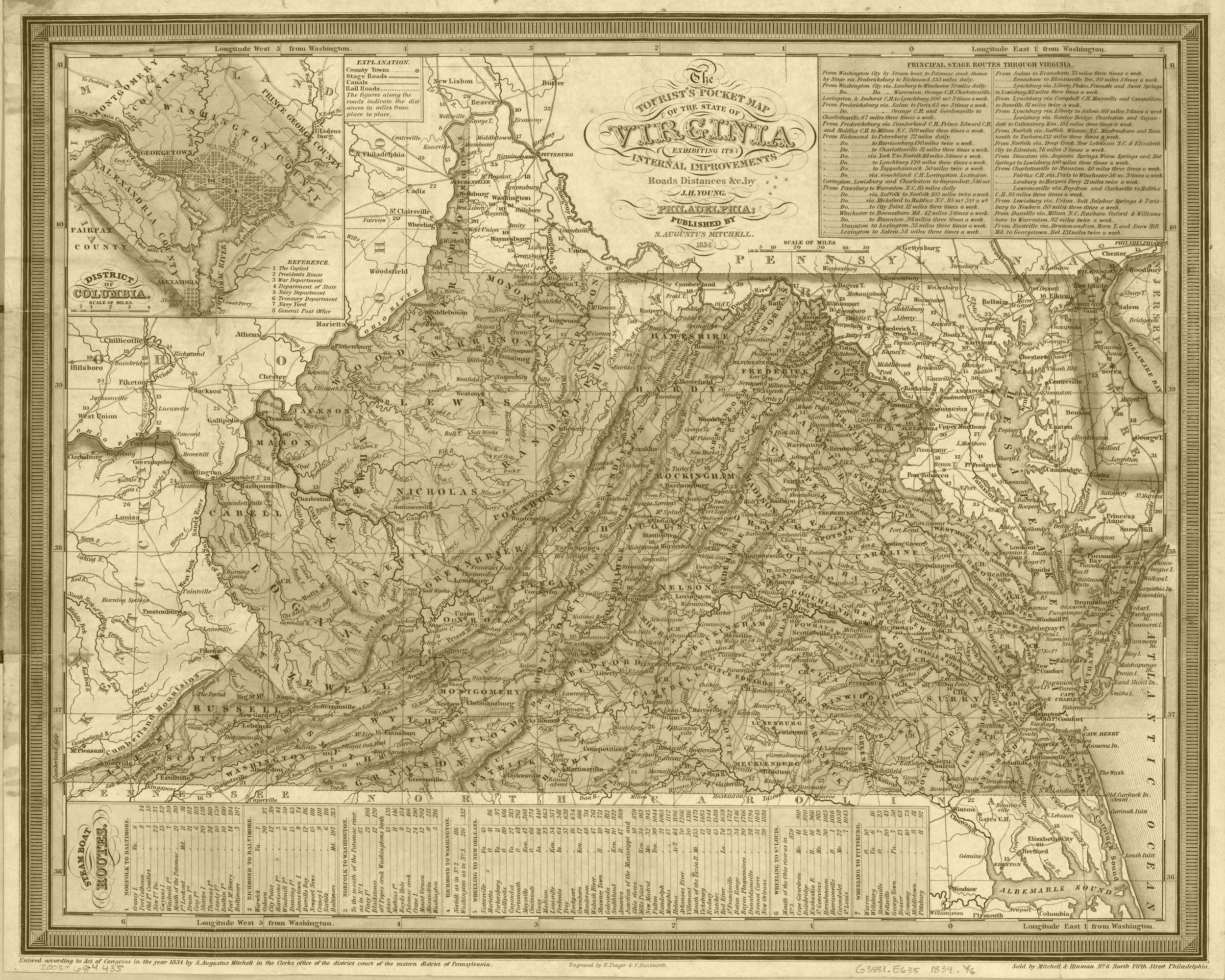 Virgina Vintage State Map Wall Art Print State Map Wall Art Map