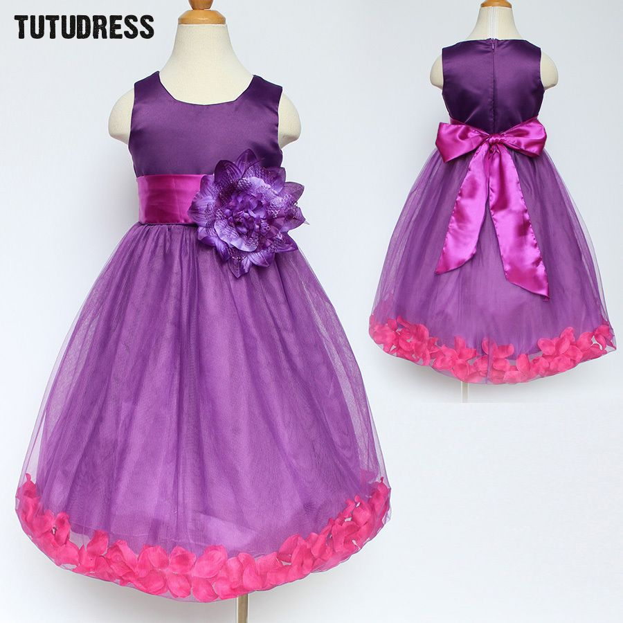 Flower petals girls dress purple children toddler elegant dress baby