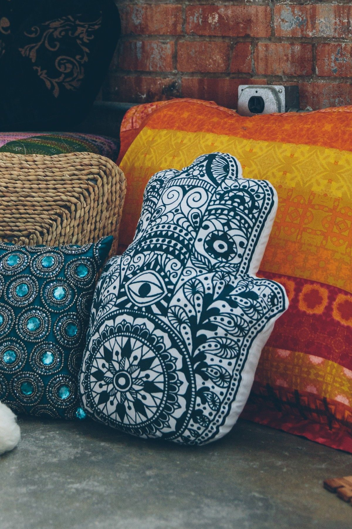 Black And White Hamsa Hand Pillow Home Decor Earthbound Trading Co