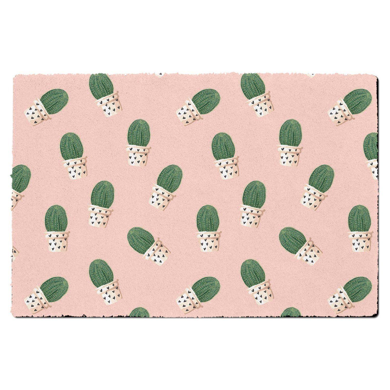 Cute Potted Cactus On Pink Door Mat Large Door Mat