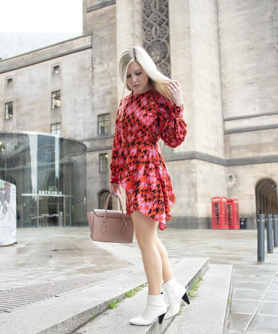 d8da6f21d5c0 An alternative to the usual Christmas Party dress - try colour clashes, a  bold print and white boots! #christmasparty #partyoutfit