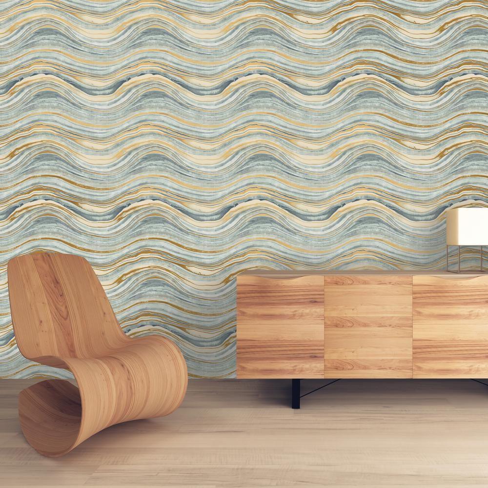 Travertine aquamarine and gold selfadhesive removable wallpaper