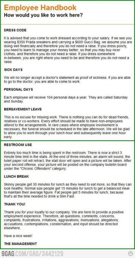 Employee Handbook  Employee Handbook Humor And Hr Humor