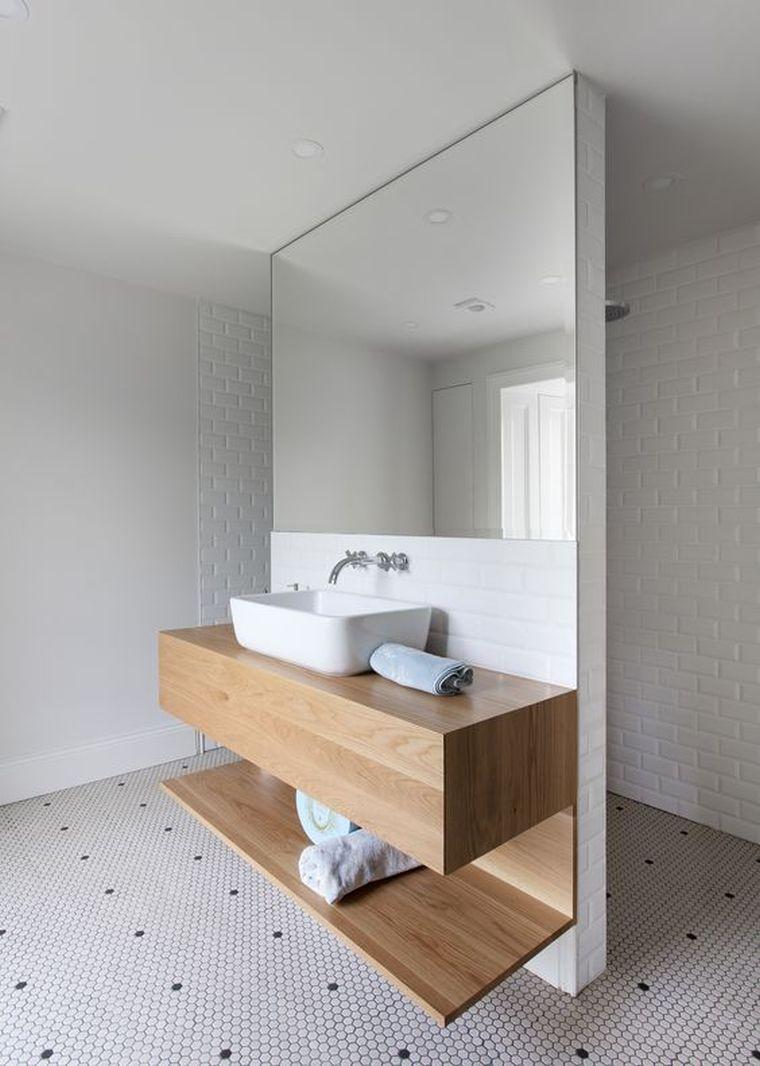 meuble salle de bain bois moderne et mobilier sous vasque suspendu