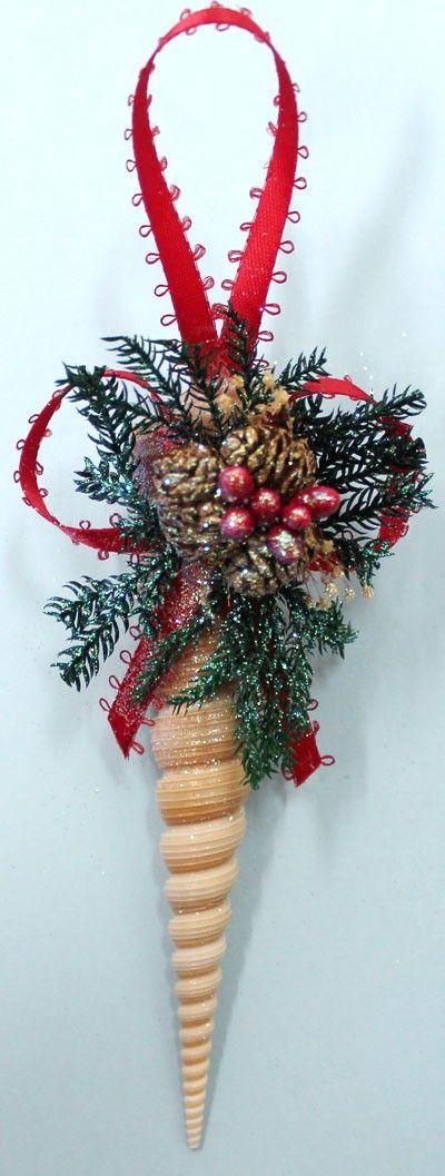 Turtella Seashell Pine Christmas Ornament