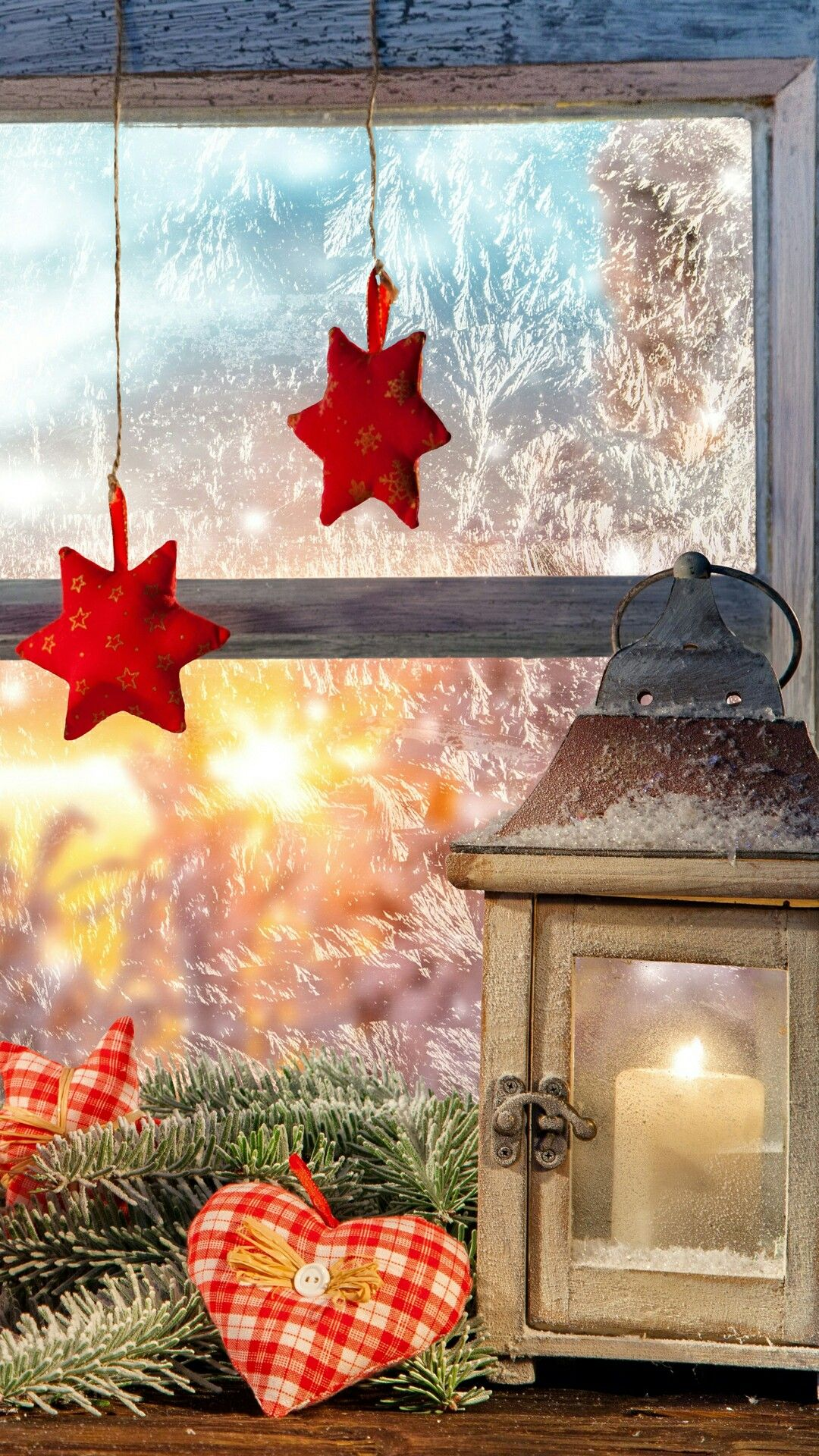 Winter Christmas Country Vignette Featuring A Lantern At A Frost Covered Window